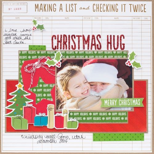 Lovely scrapbooking layout created using our Be Merry Collection. #bemerry #americancrafts