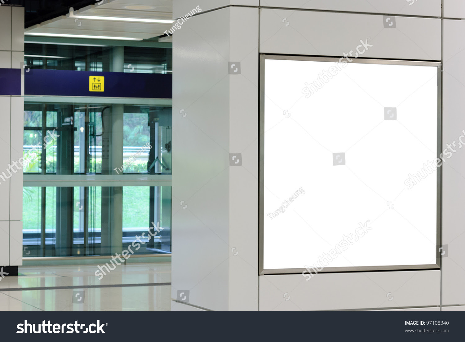 One Big Square Blank Billboard On Modern White Wall With Lift ...