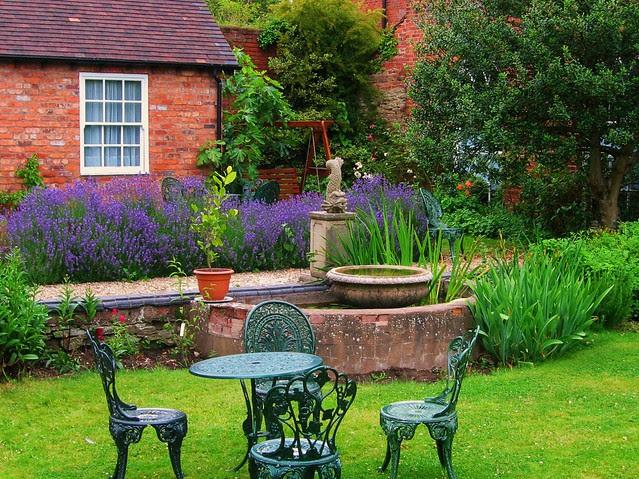 The Garden at Dinham Hall,  Ludlow, Shropshire