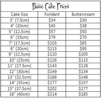 Cake Price List   Belinda's Cakes and Bling