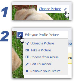 Access your Facebook profile picture options