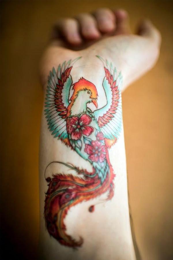 Right Forearm Flying Phoenix Tattoo