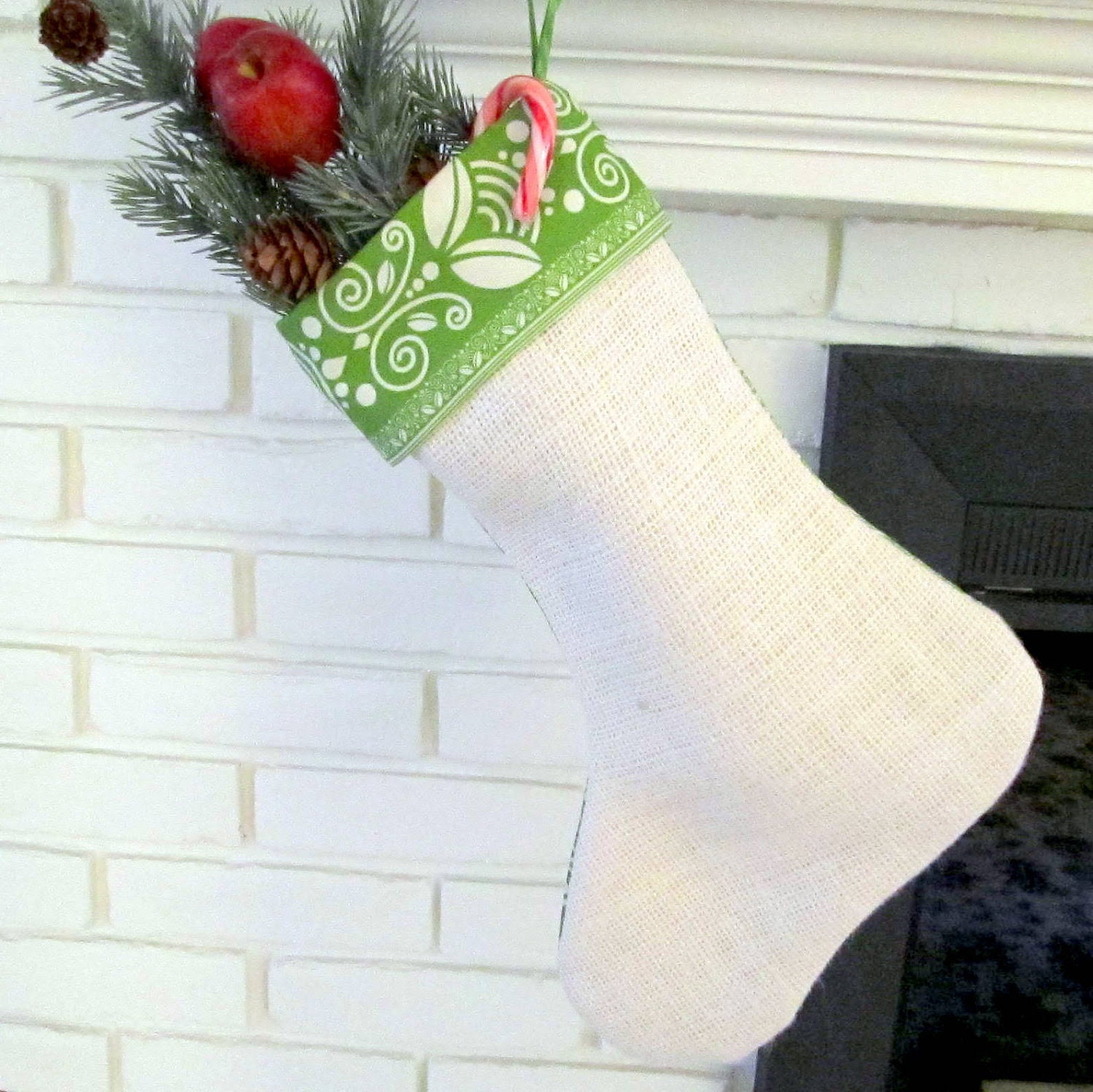 Apple Green Christmas Stocking Cuffed Ribbon Hanger Lined 16 in. long