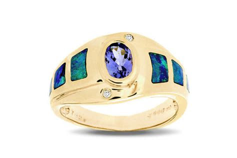 tanzanite  inlaid opal ring  joliet