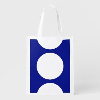 White Circles on Blue Grocery Bag