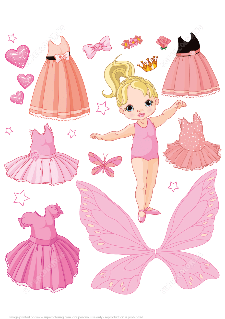 Baby Paper Doll with Different Ballet Fairy and Princess ...