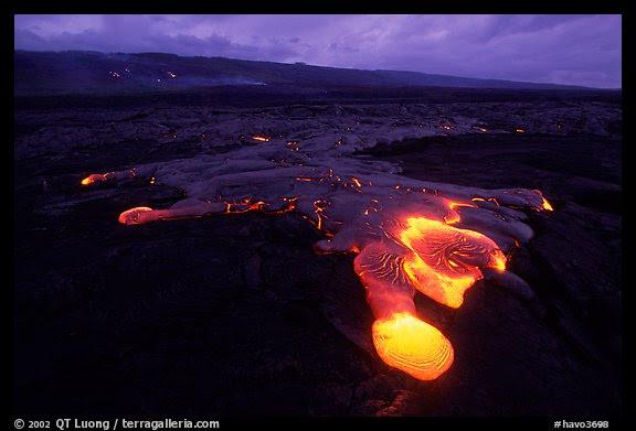 Kilauea lava flow at dawn. Hawaii Volcanoes National Park (color)