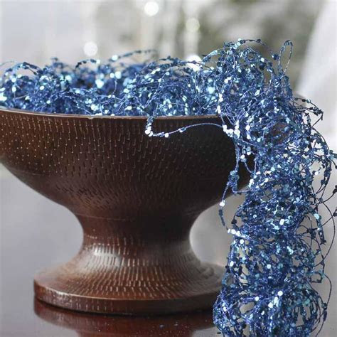 Blue Glitter and Sequin Twisted Wire Garland   Vase and