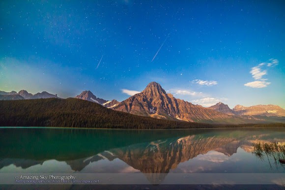 Two Perseid meteors over Mt. Cephren, in Banff, Alberta, Canada on August 11, 2014, caught in two separate exposures and composited into one frame. Credit and copyright: Alan Dyer/Amazing Sky Photography.