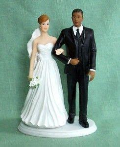 Black Groom/White Bride Interracial Figurine/Cake Top in