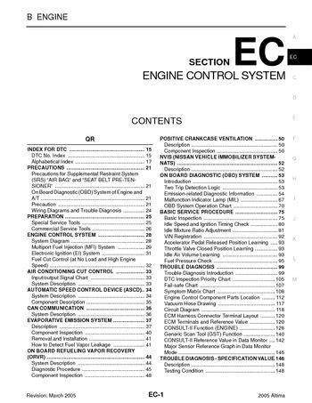 2005 Nissan Altima - Emission Control System (Section EC