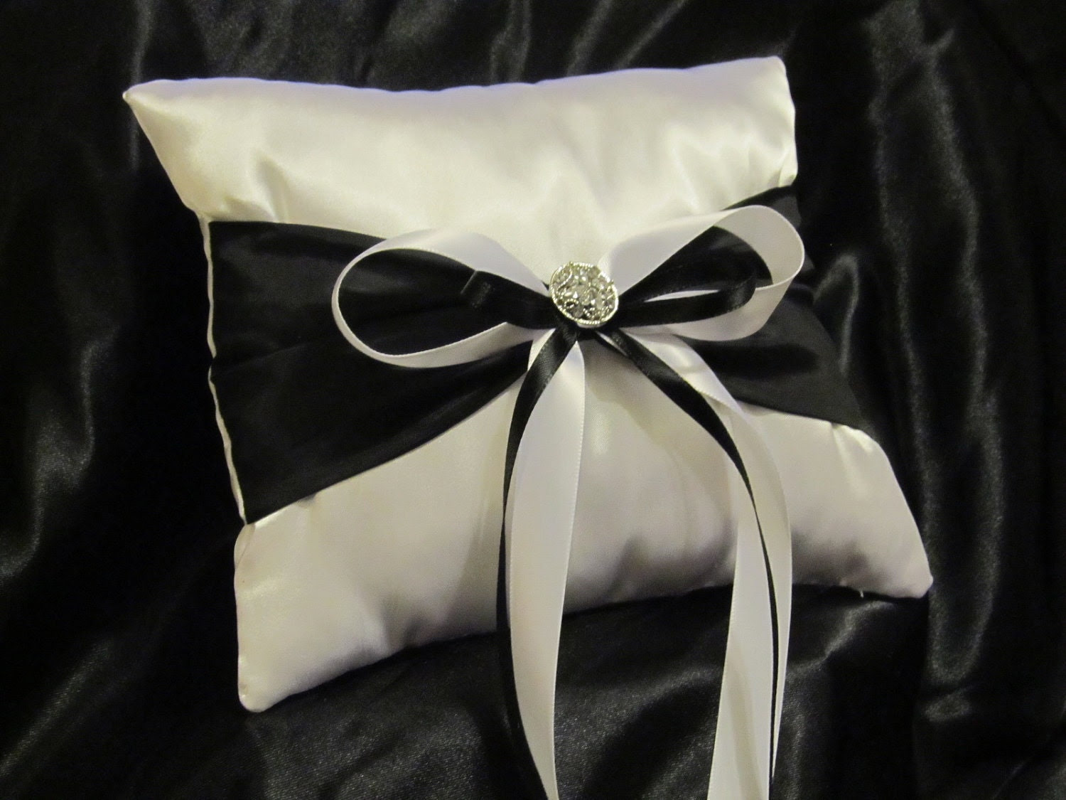 Ring Bearer Pillow - Black and White Satin With a Touch of Class