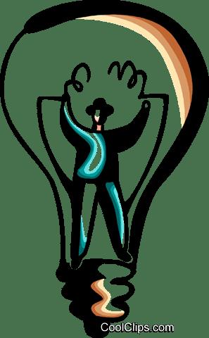 Empresário Em Lâmpada Idéia Livre De Direitos Vetores Clip Art