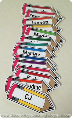 FREE Pencil Labels contains 19 large, brightly colored, pencil ...