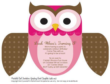 Free editable owl invitation template, multiple color options ...