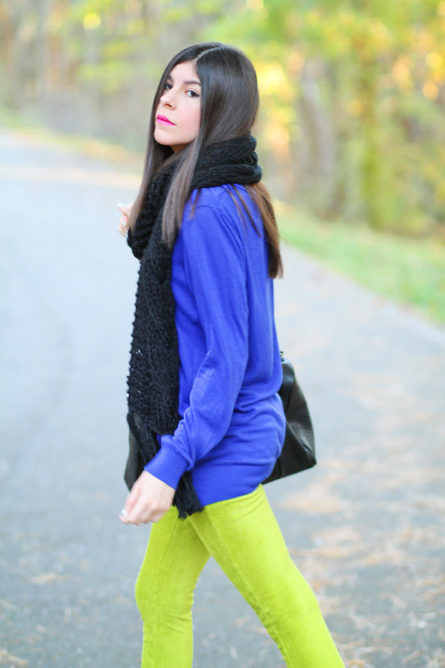 H&M ear muffs, Neon leggings, cat ear muffs, Fashion outfit
