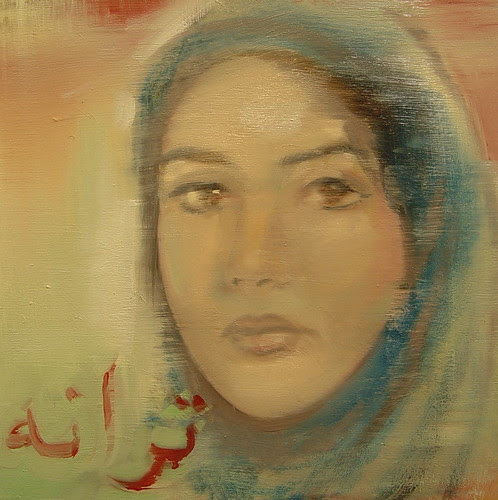 "The Song - ترانه - Taraneh 12""x12"" oil on wood 2009"