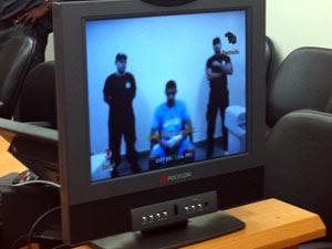 Nem em videoconferência no TJ-RJ (Foto: Rodrigo Vianna/G1)