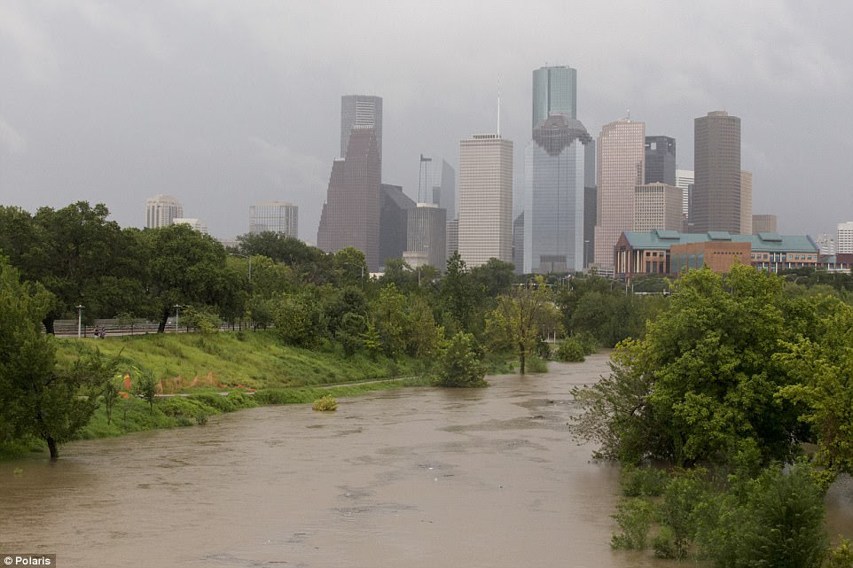 Houston's sky scrapers were among the only buildings that were safe from the flooding on Sunday