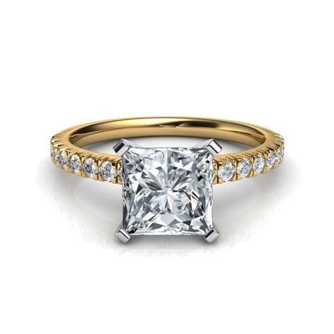 French Cut Pave Engagement Ring