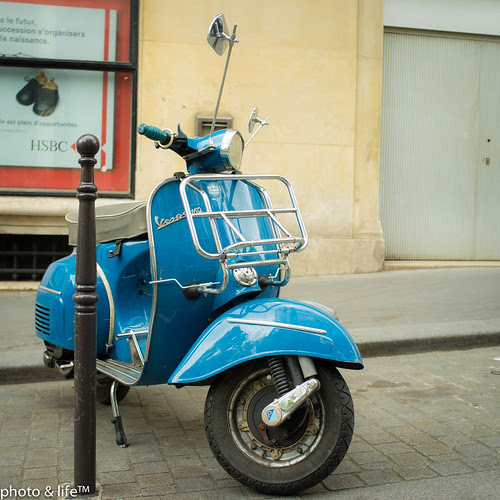 Blue Vespa by photo & life
