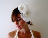 COQUETTE WHITE-bridal, 2 ruffly silk flowers sit atop a super skinny headband wrapped with off white hand dyed ribbon