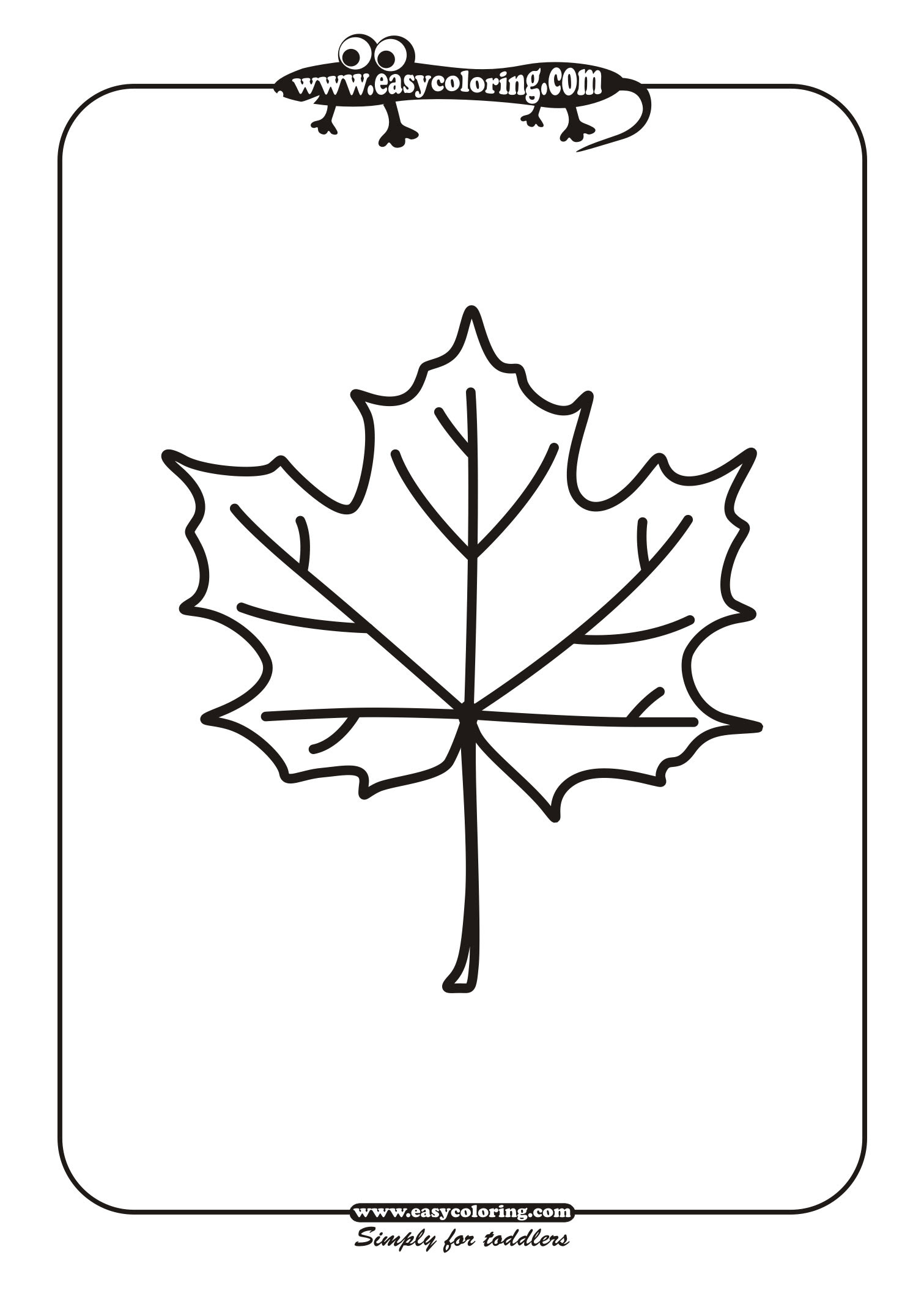 Leaf One - Simple leafs | Easy coloring pages for toddlers
