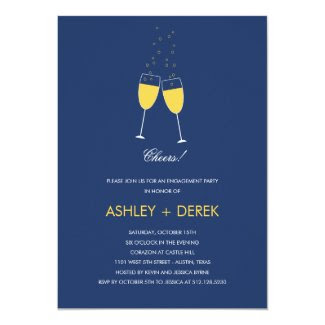 Champagne Toast Engagement Party Invitation Personalized Invitation