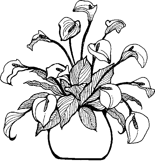 Flowers In Vase Clipart Black And White Clip Art Library