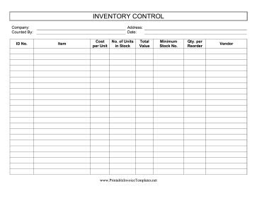 Daily inventory control sheet calendar june.