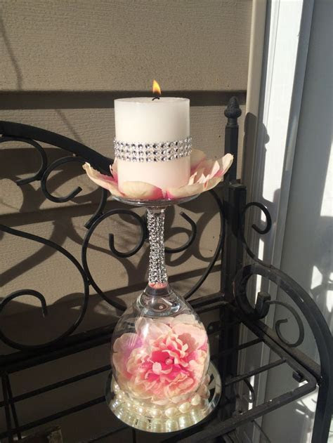 Wedding wine glass candle holder. Wedding ideas