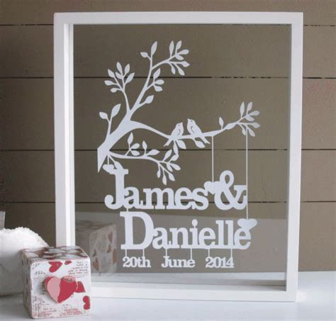Personalised Wedding, Anniversary or Valentines papercut