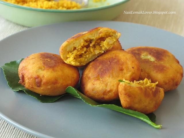 Cucur Badak ( Fried sweet potato cake with savory filling)