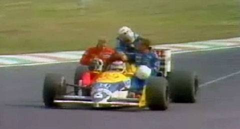 GP do México de 1986: o brasileiro Nelson Piquet, o sueco Stefan Johansson, o austríaco Gerhard Berger e o francês Philippe Alliot