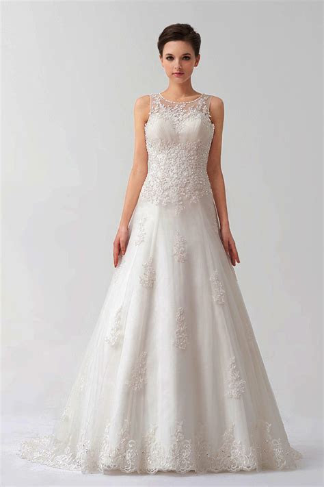 Wholesale Applique Beading Lace Wedding Dress With