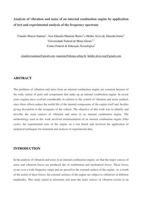 (PDF) Analysis of Vibration and Noise of an Internal