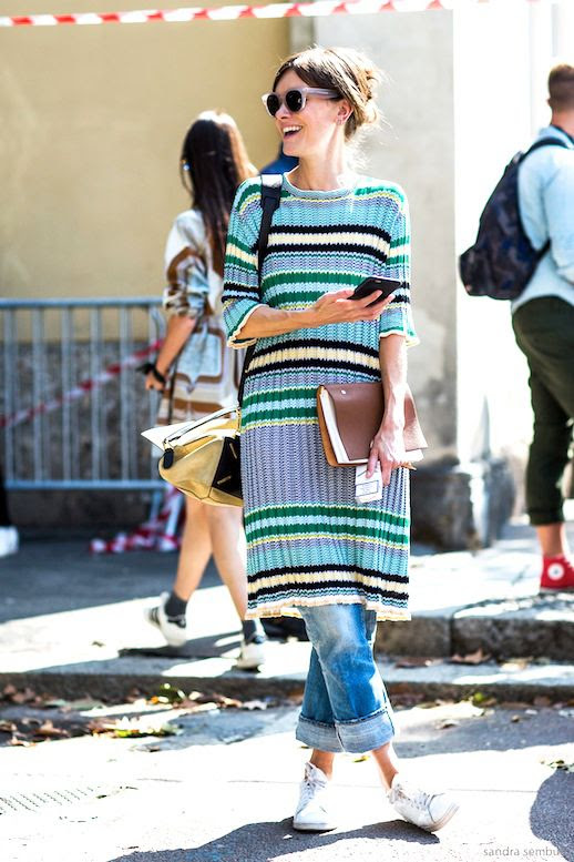Le Fashion Blog Mfw Street Style Long Ribbed Striped Sweater Cuffed Boyfriend Denim White Sneakers Via A Love is Blind
