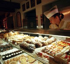 Boulangerie, the bakery in France, World Showcase, Epcot. After you have lunch at Beirgarten in Germany, dinner at the hibachi in Japan, come to France and have something sweet!