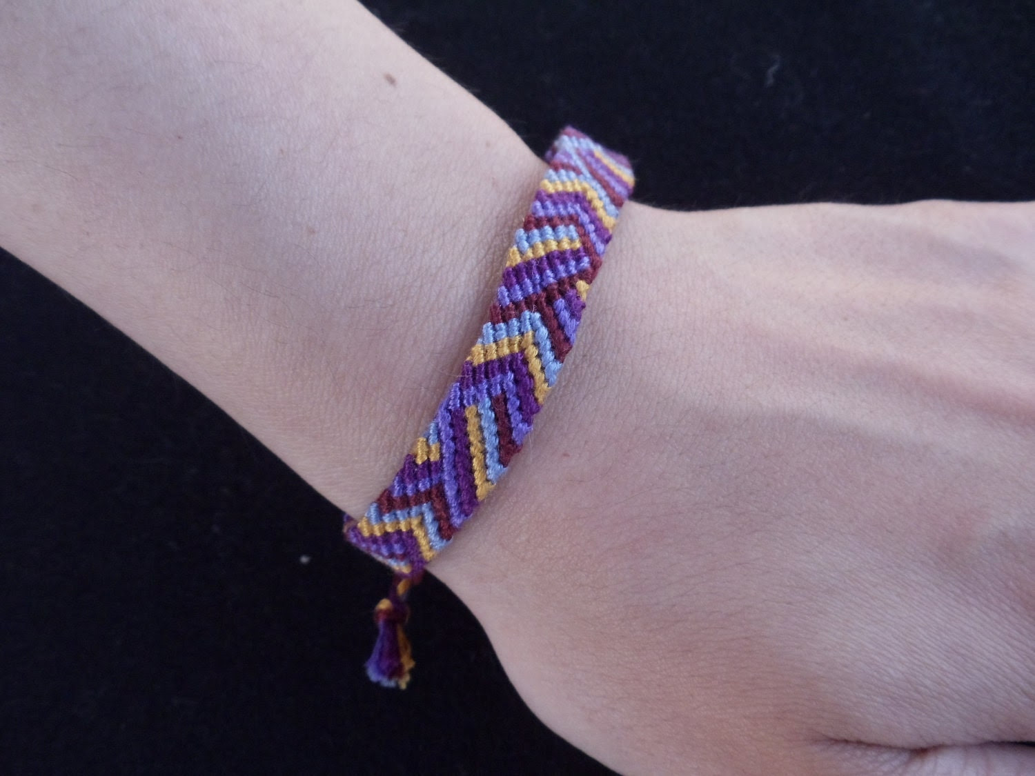 "Friendship Bracelet - Bright Colours (Purple) ""Diagonal and Chevron-Mix Design"""