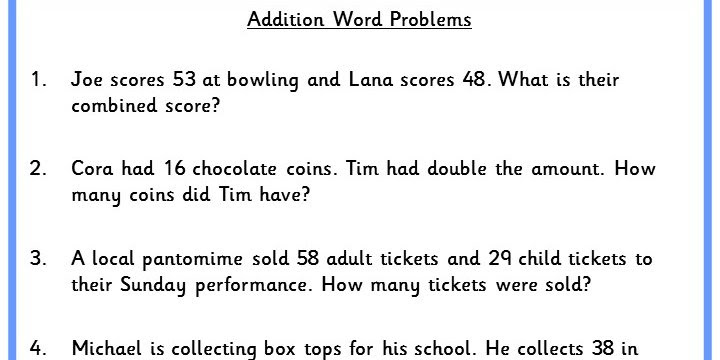 Addition Word Problems Classroom Secrets