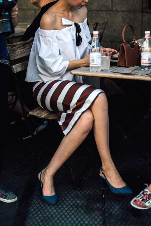 Le Fashion Blog Mens Fashion Week Off The Shoulder Top Striped Pencil Skirt Blue Slingback Heels Via Vogue Uk