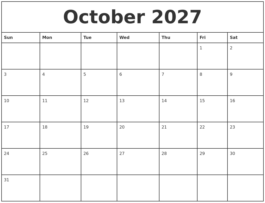 october 2027 printable monthly calendar