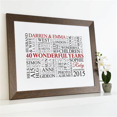 Personalised Ruby Anniversary Word Art   40th Wedding