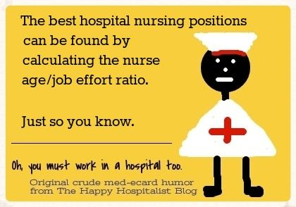 The best hospital nursing positions can be found by calculating the nurse age/job effort ratio.  Just so you know nurse ecard humor photo.
