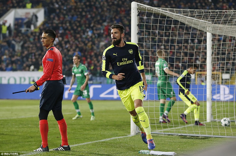 Striker Olivier Giroud sent Arsenal into the break on a high as his goal pulled the away side back into the game at 2-2