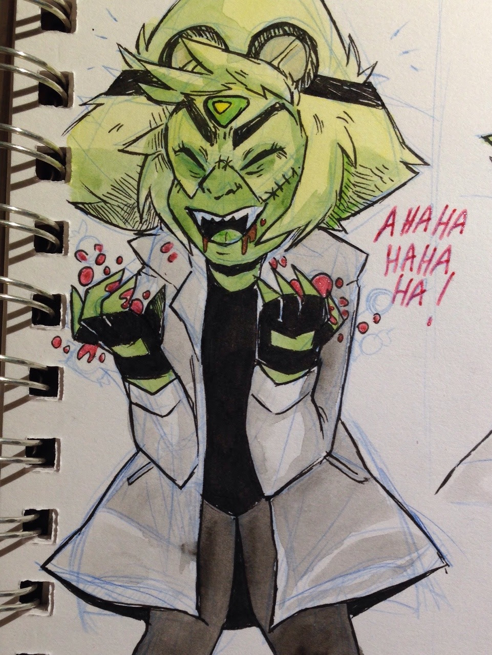 halloween party shenanigans: peridot dresses as a mad scientist, eats too much candy, has a sugar high and crashes. jaspers designated to take care of her.