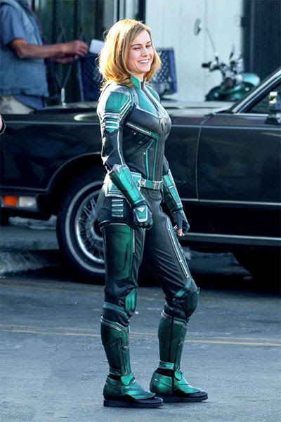 Brie Larson wears a green (Kree?) warrior suit on the set of CAPTAIN MARVEL.