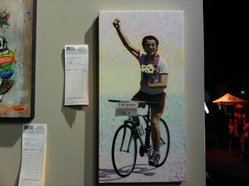 Harvey Milk on a bicycle