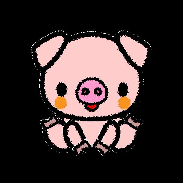 手書き風でかわいい豚の無料イラスト商用フリー オイデ43
