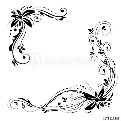Floral corner design. Ornament black flowers on white